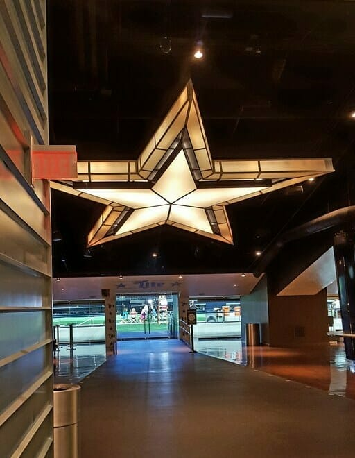 Big lit up star at the Miller Lite Club at AT&T Stadium