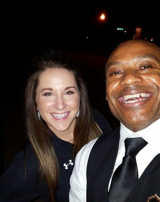 Prime Limo chauffeur with Carly Patterson laughing at night