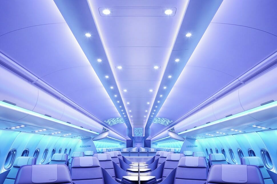Image of new Airbus Cabin with LED lights and wide seats