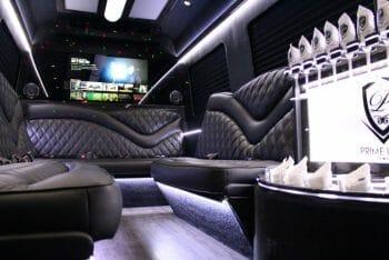 Limo Sprinter executive white lighting with laser lights