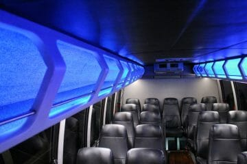 Executive Mini-Bus blue interior storage
